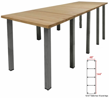 12' x 4' Standing Height Solid Wood Conference Table w/ Industrial Steel Legs