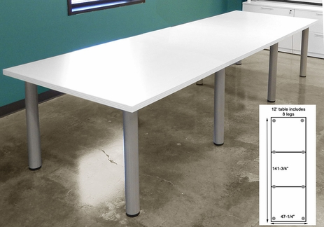 12' x 4' White Conference Table