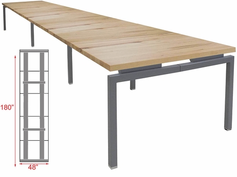 15' Solid Wood Parsons Leg Conference Table