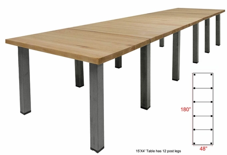15' x 4' Solid Wood Conference Table with Industrial Steel Legs