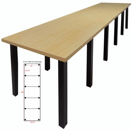 15' x 4' Standing Height Conference Table w/Square Post Legs