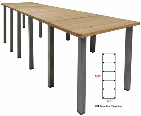 15' x 4' Standing Height Solid Wood Conference Table w/ Industrial Steel Legs