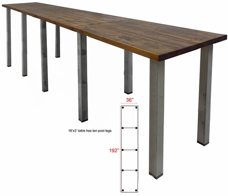 16' x 3' Standing Height Solid Wood Conference Table with Industrial Legs