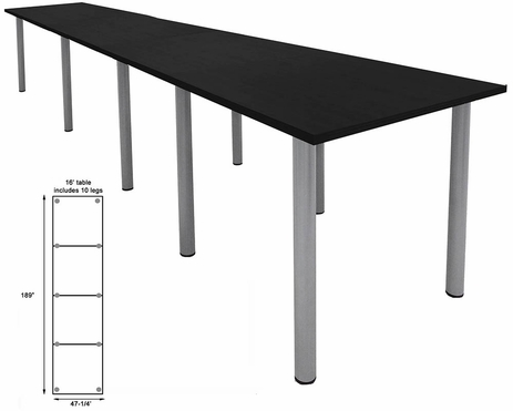 16' x 4' Standing Height Conference Table w/Round Post Legs
