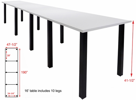 16' x 4' Standing Height Conference Table w/Square Post Legs
