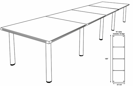 16' x 4' White Conference Table