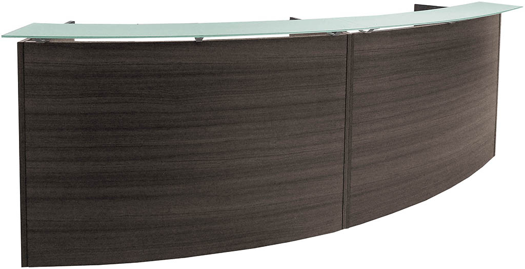 2-Person Curved Charcoal Glass Top Reception Desk - 120
