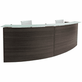 "2-Person Curved Charcoal Glass Top Reception Desk - 120"" Wide"