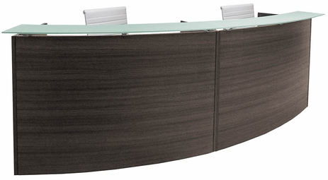 2-Person Curved Glass Top Reception Desk in Charcoal or White - 120