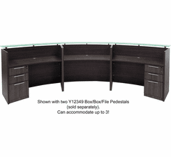 3-Person Curved Charcoal Glass Top Reception Desk - 180