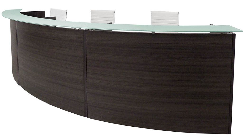 "3-Person Curved Charcoal Glass Top Reception Desk - 180"" Wide"