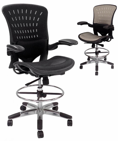 350 Lbs. Capacity ErgoFlex All-Mesh Office Stool -23