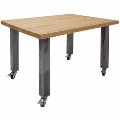 "36"" x 48"" Solid Wood Mobile Conference Table with Industrial Steel Legs"