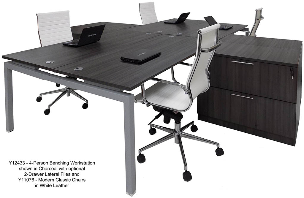 4-Person Collaborative Open Office Benching Workstation w/48