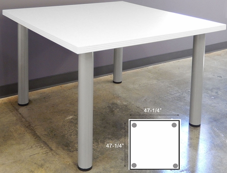 4' Square White Conference Table