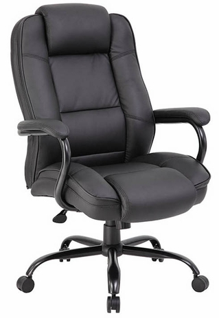 400 Lbs. Capacity Black Bonded Leather Big & Tall Office Chair w/23