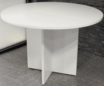 "42"" Round White Laminate Discussion Table"