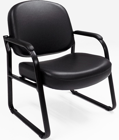 500 lbs. Capacity Antimicrobial Black Vinyl Guest Chair with Arms