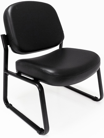 500 lbs. Capacity Antimicrobial Black Vinyl Guest Chair without Arms