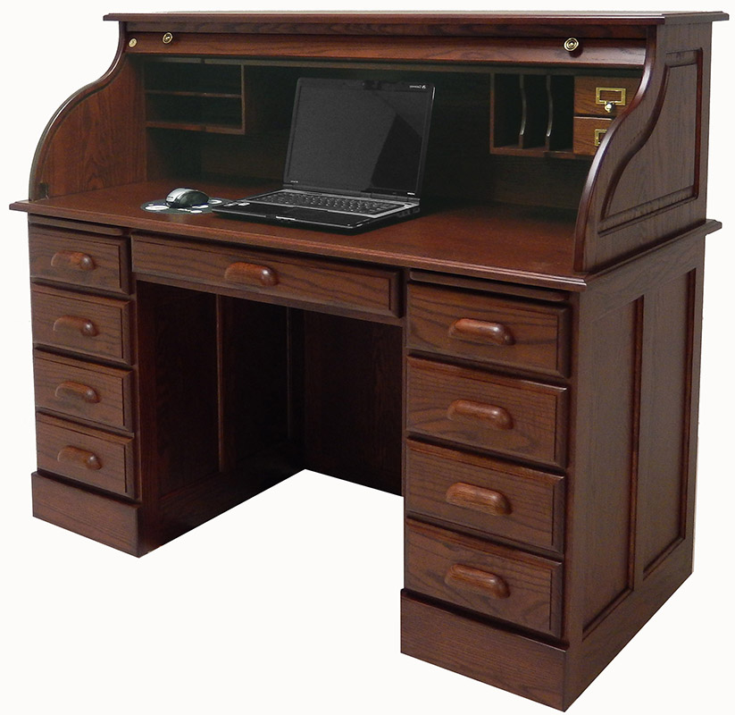 54 1 2 W Deluxe Solid Oak Roll Top Desk