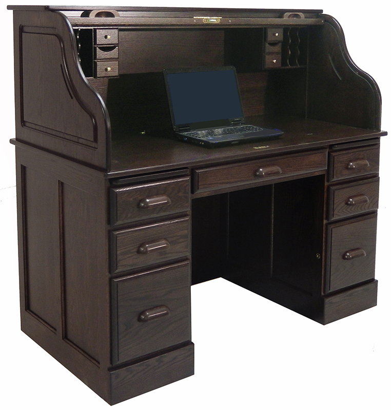 54 W Deluxe Solid Oak Laptop Roll Top Desk Made In Usa