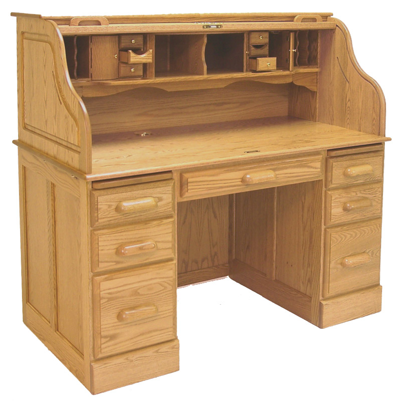 54 W Deluxe Solid Oak Roll Top Desk Made In Usa