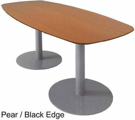 6' Boat Shaped Conference Table w/Steel Disc Bases