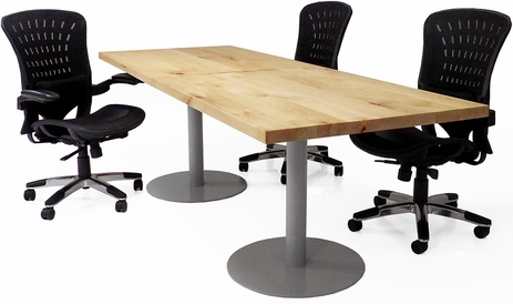 6'x4' / 8'x3' Solid Wood Conference Table w/ Steel Disc Bases - See Other Sizes
