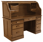 "60""W Solid Oak Rolltop Computer Desk in Briar Finish - IN STOCK! Made in USA"