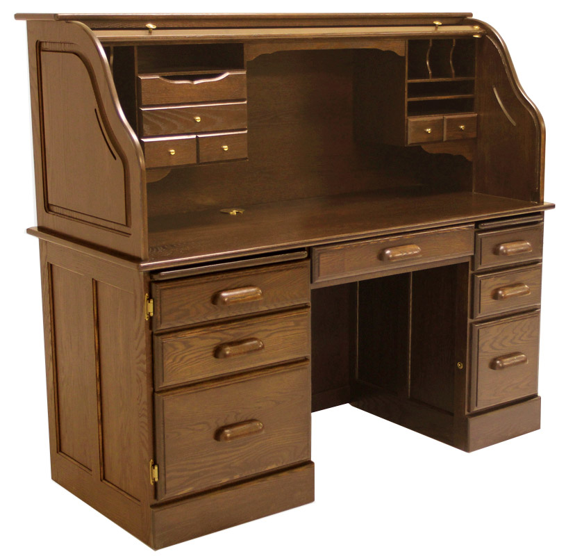 60 W Solid Oak Rolltop Computer Desk In Briar Finish In Stock Made In Usa