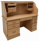 "60""W Solid Oak Rolltop Computer Desk in Sand Finish - IN STOCK! Made in USA"