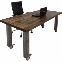 "66"" x 30"" Solid Wood Mobile Desk / Training Table with Industrial Steel Legs"