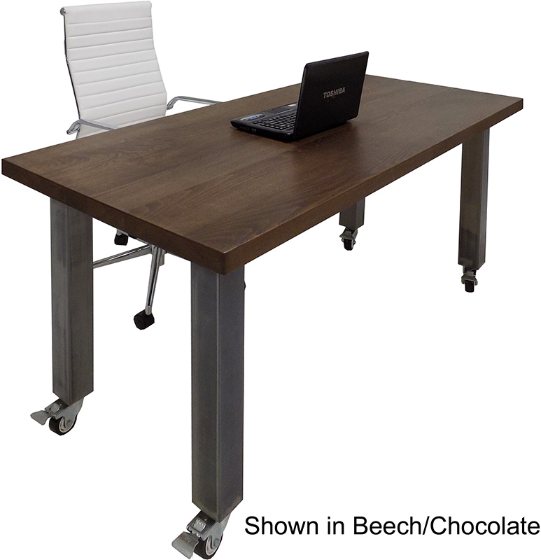 """66"""" x 30"""" Solid Wood Mobile Desk / Training Table with Industrial Steel Legs"""