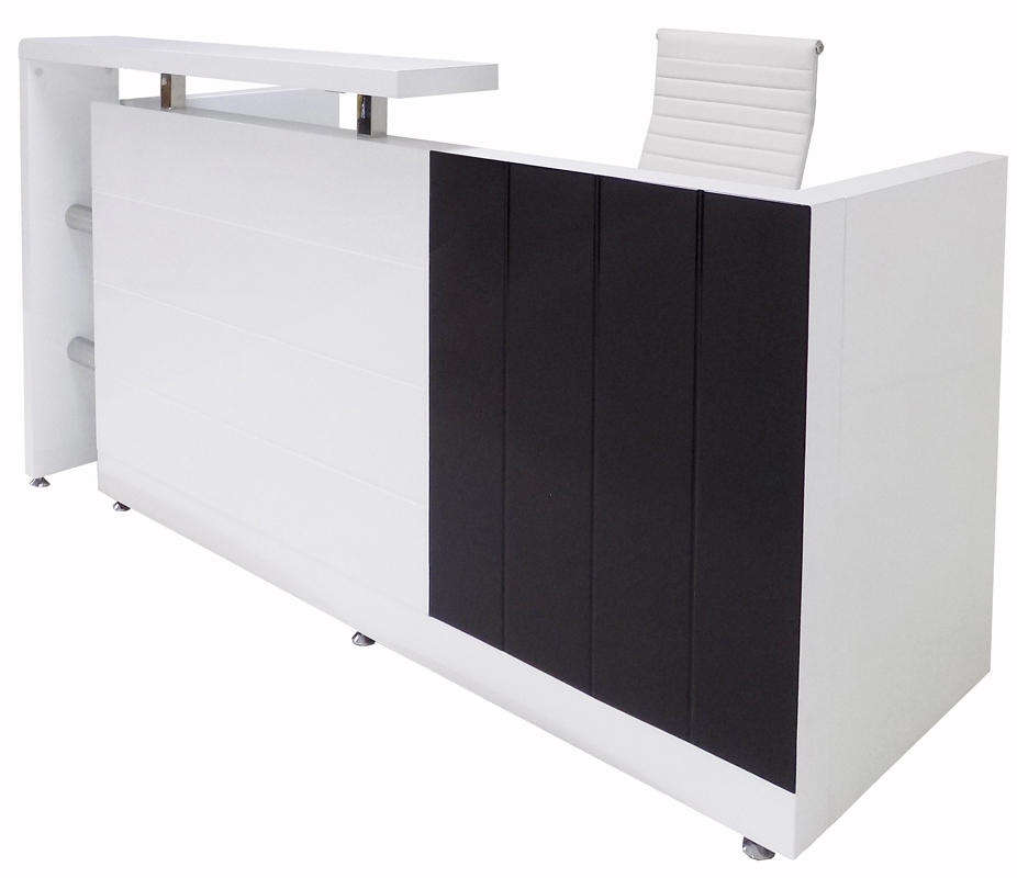 "79""W Black and White High Gloss Reception Desk"