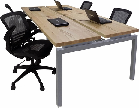 8' Solid Wood Top Technology Table w/Four 48