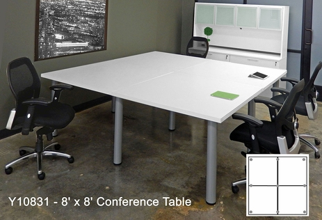 8' Square White Conference Table