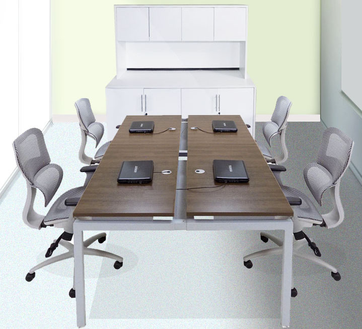 "8' Technology Table w/Four 48"" x 24"" Worksurfaces - See Other Sizes Below"