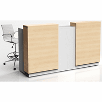 8'W Two-Person Contrasts Custom Standing Height Reception Desk with Drawers
