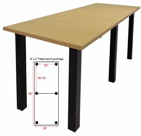 8' x 3' Standing Height Conference Table w/Square Post Legs