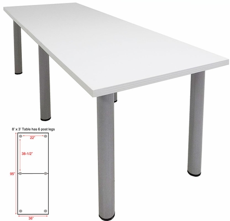 8' x 3' White Conference Table