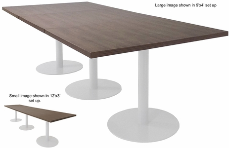9' x 4' / 12' x 3' Rectangular Disc Base Conference Table