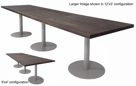 9' x 4' / 12' x 3' Solid Wood Conference Table with Disc Bases