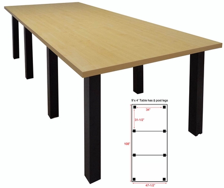 9' x 4' Conference Table w/Square Post Legs