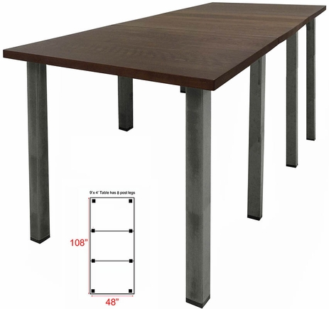 9' x 4' Standing Height Solid Wood Conference Table w/ Industrial Steel Legs
