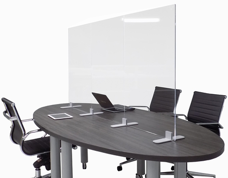 Adjustable Conference Table Clear Acrylic Safety Barrier  - Sets up 6', 8' or 9' Long! IN STOCK!