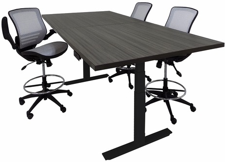 Adjustable Electric Lift 8' x 4' Rectangular Conference Table - Other Sizes Available