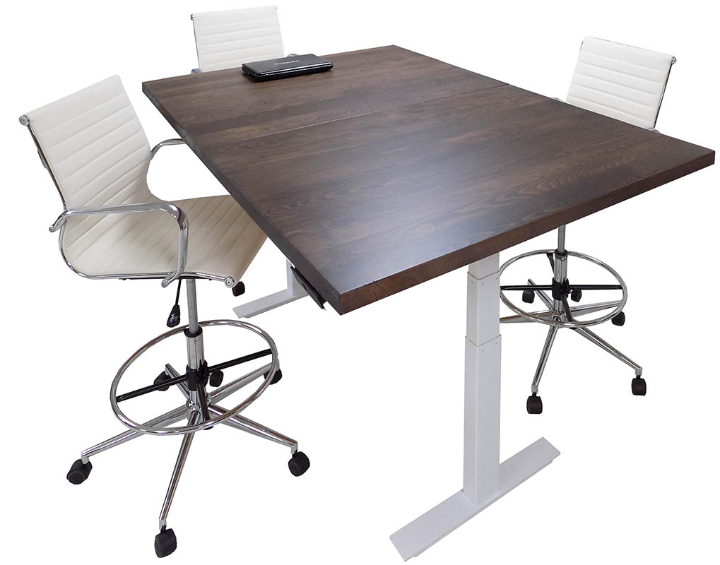 Adjustable Electric Lift Solid Wood Top Conference Table - 8'x3' / 6'x4' Size
