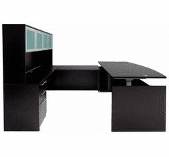Adjustable Height Bow Front U-Shaped Desk w/Hutch in Black
