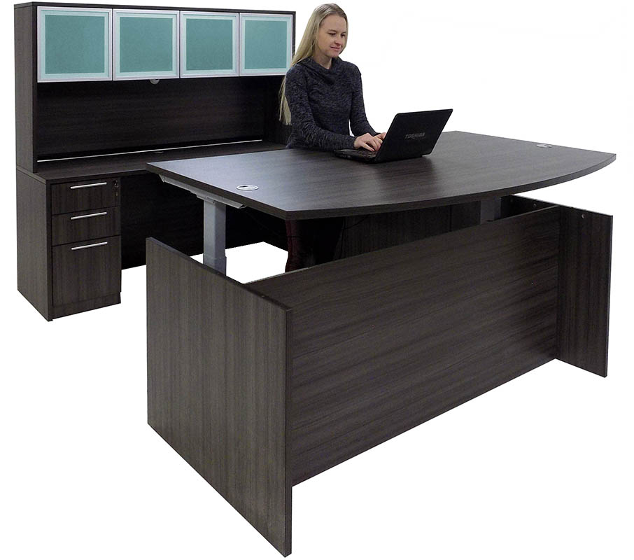 Adjustable Height Bow Front U-Shaped Desk w/Hutch in Charcoal