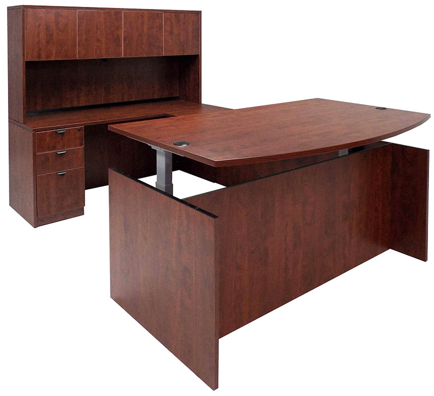 Adjustable Height Bow Front U-Shaped Desk w/Hutch in Cherry